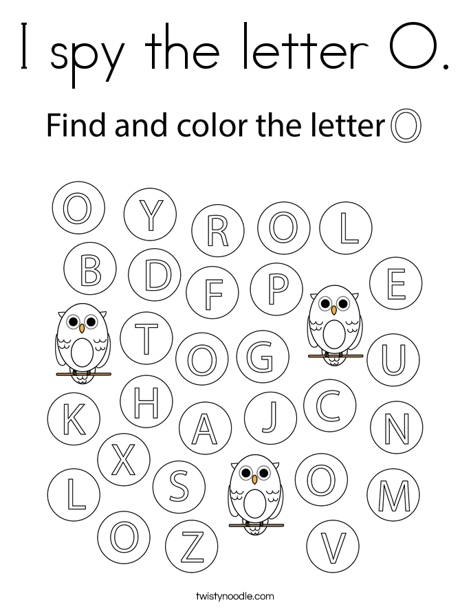 I spy the letter O. Coloring Page