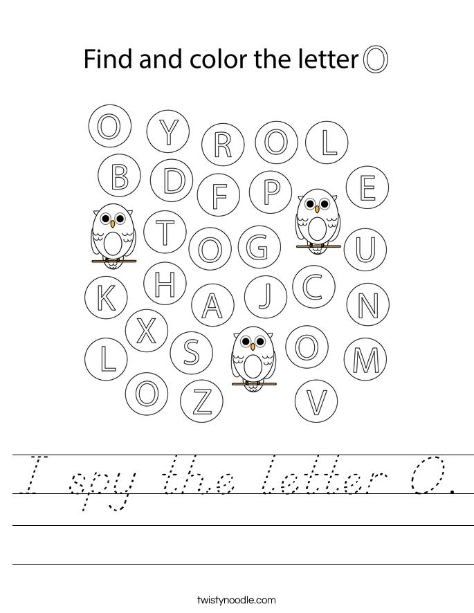 I spy the letter O. Worksheet