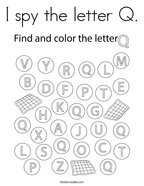 I spy the letter Q Coloring Page