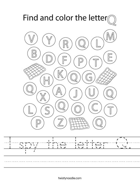 I spy the letter Q. Worksheet