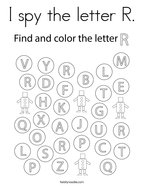 I spy the letter R Coloring Page