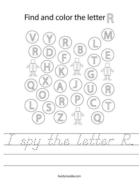 I spy the letter R. Worksheet