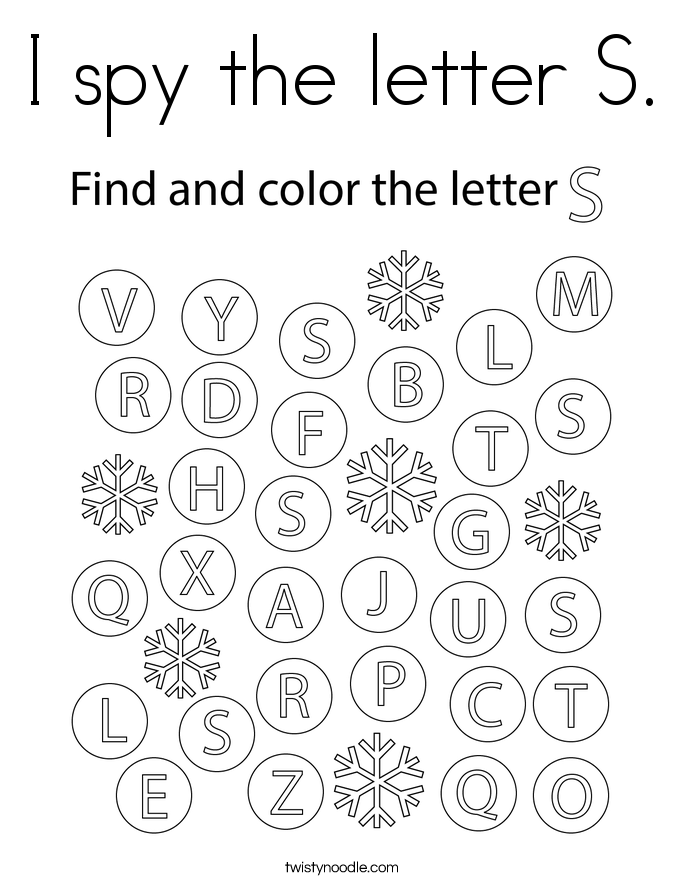 I spy the letter S. Coloring Page