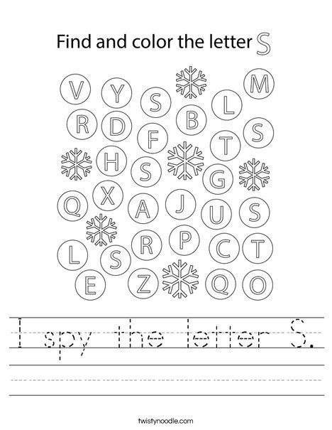 I spy the letter S.  Worksheet