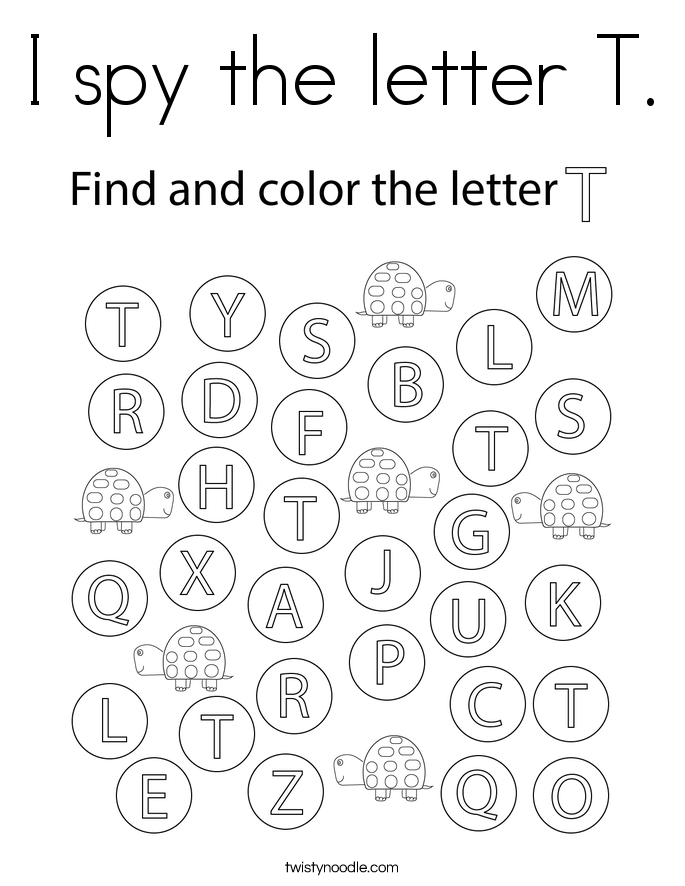 I spy the letter T. Coloring Page