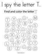 I spy the letter T Coloring Page