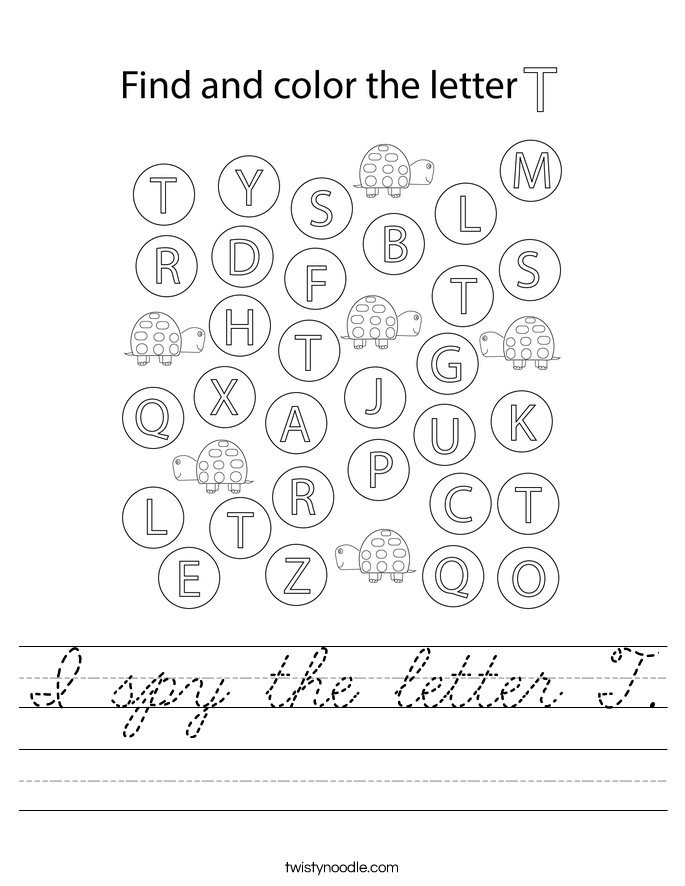 I spy the letter T. Worksheet