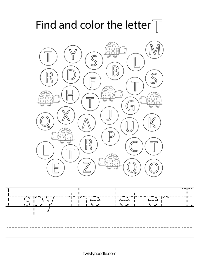 I spy the letter T. Worksheet