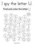 I spy the letter U. Coloring Page