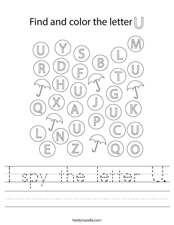 I spy the letter U. Worksheet
