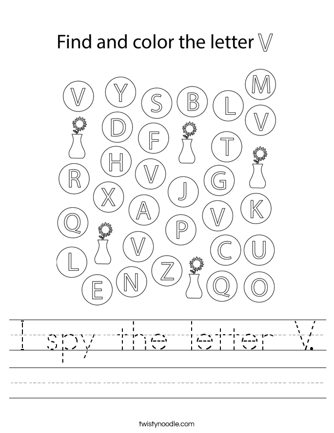 I spy the letter V. Worksheet