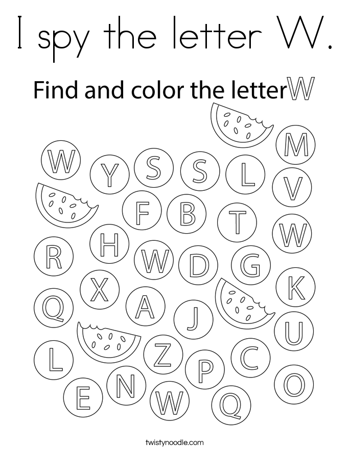 I spy the letter W. Coloring Page