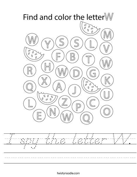 I spy the letter W. Worksheet