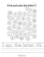 I spy the letter W Handwriting Sheet