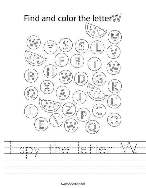 I spy the letter W. Worksheet
