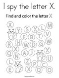 I spy the letter X. Coloring Page