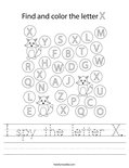 I spy the letter X. Worksheet