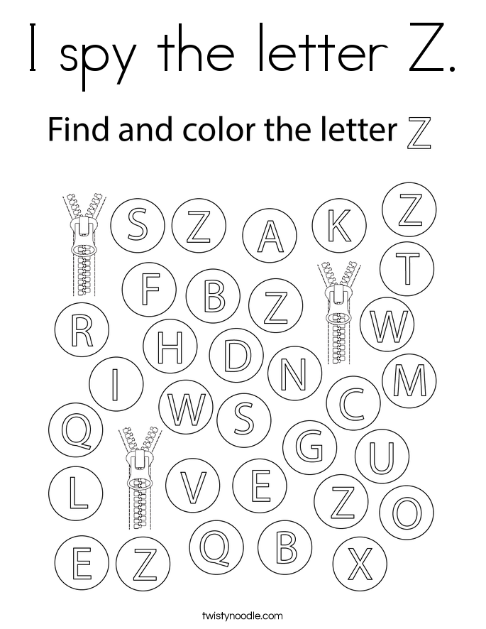 I spy the letter Z. Coloring Page