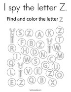 I spy the letter Z Coloring Page