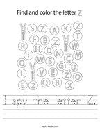 I spy the letter Z Handwriting Sheet