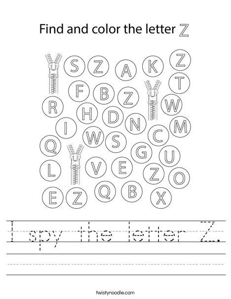I spy the letter Z. Worksheet