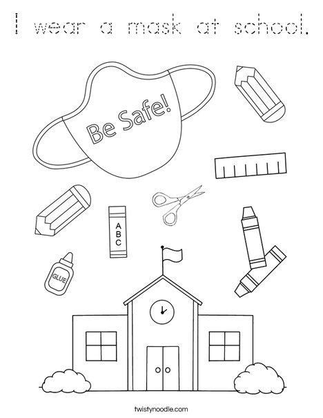 I wear a mask at school. Coloring Page