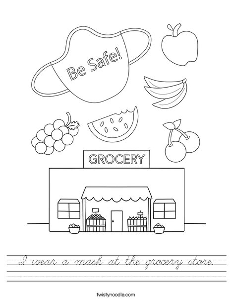 I wear a mask at the grocery store. Worksheet