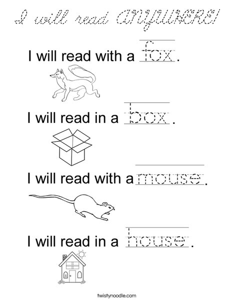 I will read ANYWHERE! Coloring Page