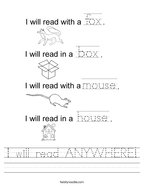 I will read ANYWHERE Handwriting Sheet