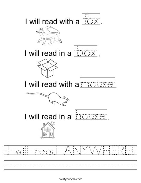 I will read ANYWHERE! Worksheet