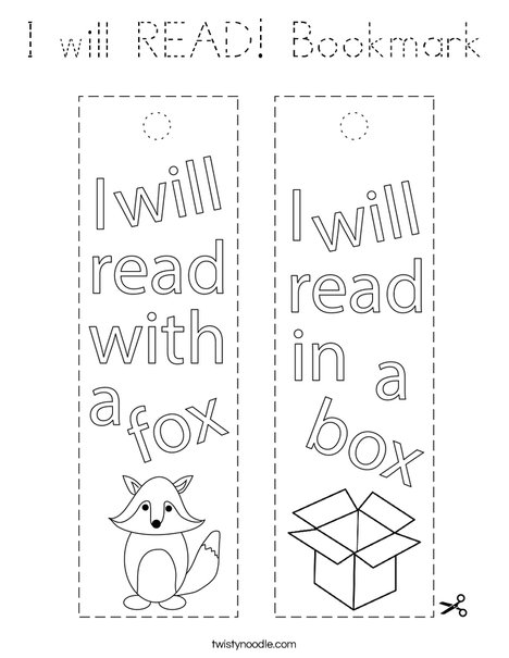 I will READ! bookmark Coloring Page