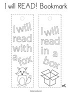 I will READ Bookmark Coloring Page