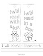 I will READ Bookmark Handwriting Sheet