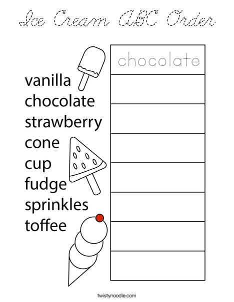 Ice Cream ABC Order Coloring Page