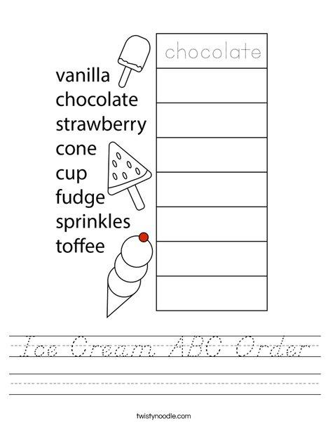 Ice Cream ABC Order Worksheet
