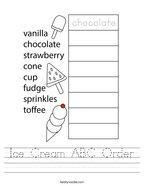 Ice Cream ABC Order Handwriting Sheet