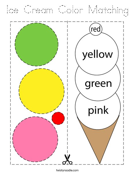 Ice Cream Color Matching Coloring Page