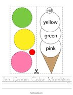 Ice Cream Color Matching Handwriting Sheet