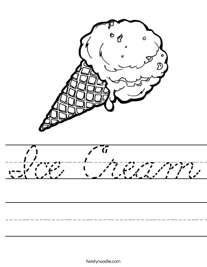 ice cream worksheet cursive twisty noodle. Black Bedroom Furniture Sets. Home Design Ideas