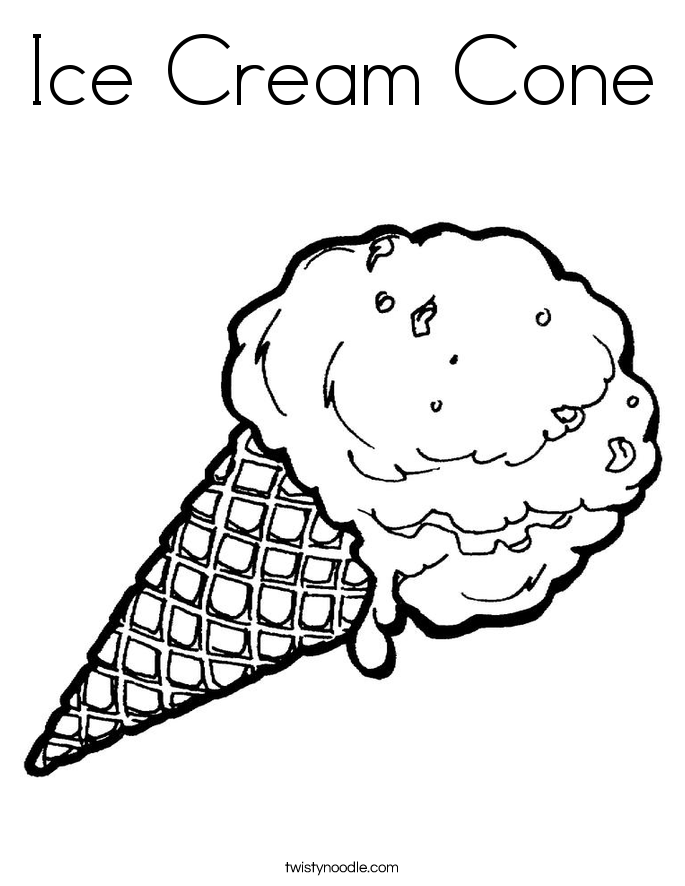 Ice Cream Cone Coloring Page - Twisty Noodle