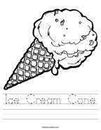 Ice Cream Cone Handwriting Sheet