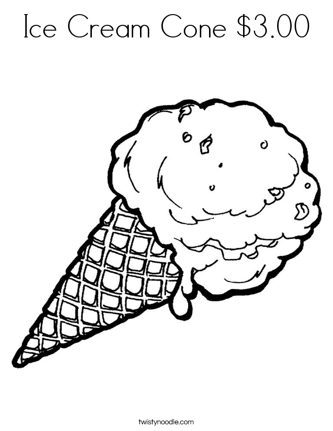 Ice Cream Cone $3.00 Coloring Page