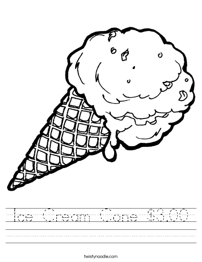 Ice Cream Cone $3.00 Worksheet