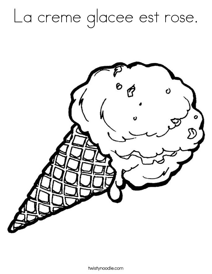 La creme glacee est rose. Coloring Page