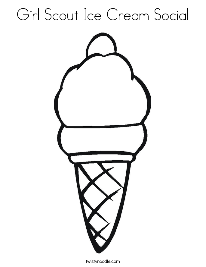 Girl Scout Ice Cream Social Coloring Page