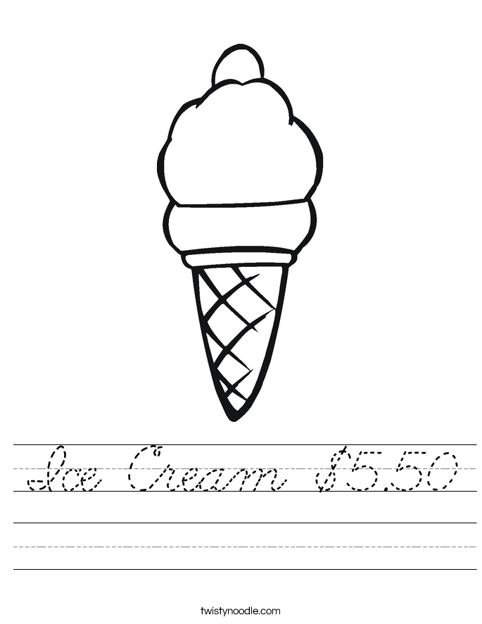 Ice Cream $5.50 Worksheet