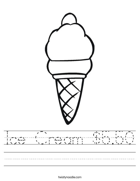 Ice Cream Worksheet