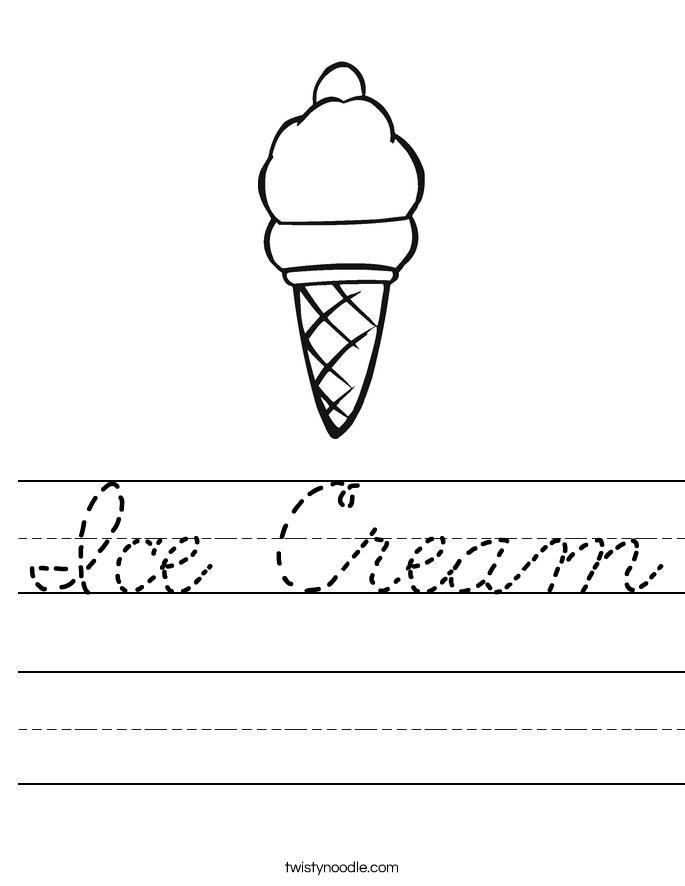 Ice Cream Worksheet