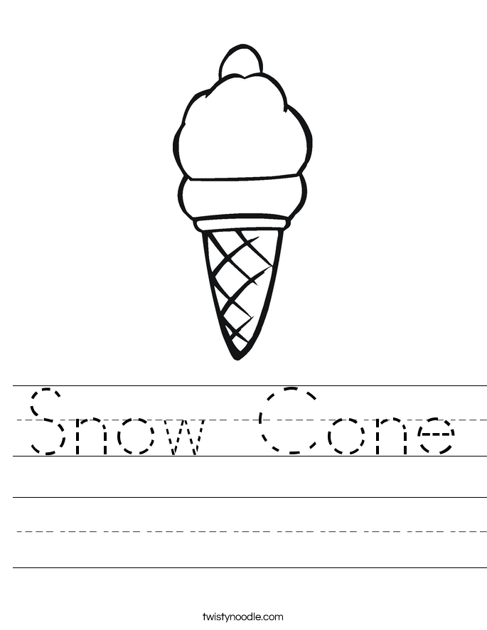 Snow Cone Worksheet