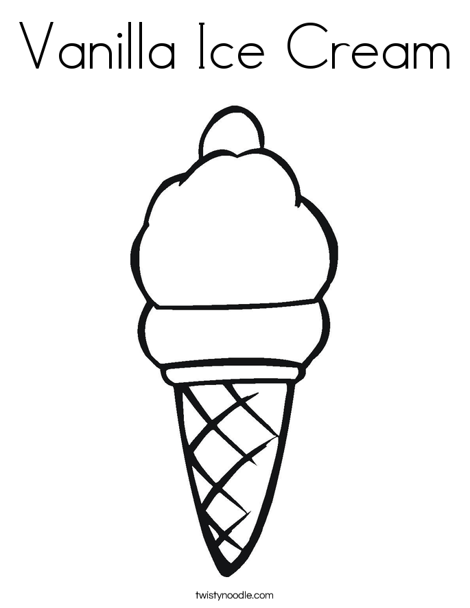 Vanilla Ice Cream Coloring Page